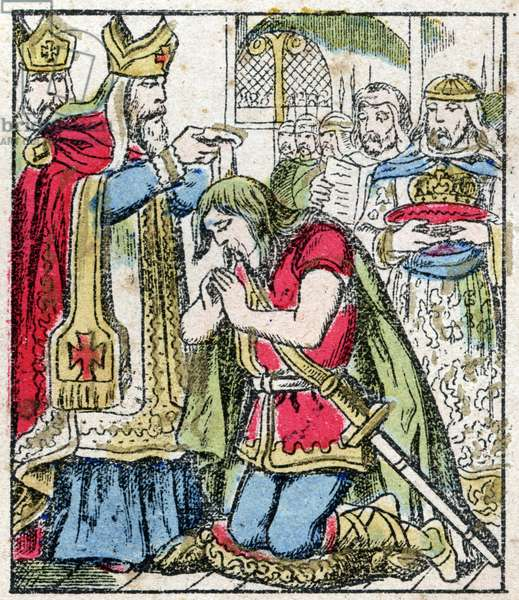 """The baptism of the King of the Francs Clovis I (466-511) in Reims by the Eveque Saint Remi on 25/12/496 (or 499), engraving in """"Histoire de France from the most remote times to the present day"""""""" drawing by Jules Pacher. Patriotic imagery of Pont-a-Mousson. Late 19th century. Private collection."""