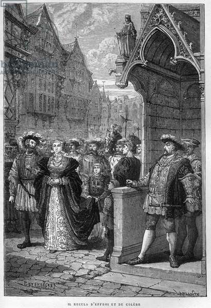 """King Henry VIII (Henry) (1491-1547) Sees Anne of Cleves (1515-1557) - engraving from """"L'Histoire d'Angleterre, depuis les temps les plus recules"""" by Francois Guizot 1877."""