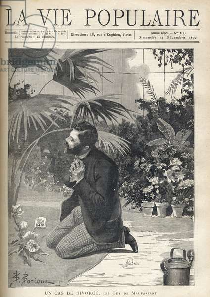 """A desperate man prays on his knees in a greenhouse. Illustration by F. Meaulle after B. Borione for """"A case of divorce"""" by Guy de Maupassant (1850-1893). Engraving from 1890 in """"La vie populaire"""""""". Private Collection"""