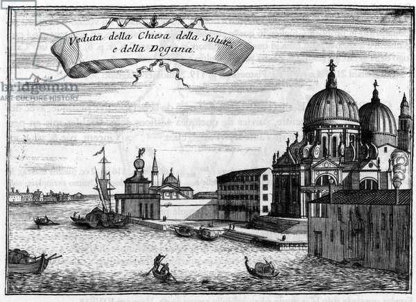 """Venice, Italy. The Church of Santa Maria della Salute, designed by the architect Baldassare Longhena, and the Maritime Customs. In """""""" Singolarita di Venezia"""""""" by Vincenzo Coronelli (1650-1718)."""