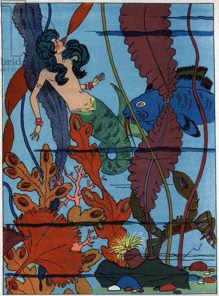 "The little mermaid in the seabed. Engraving in """" La petite sirene"""", tale by Hans Christian Andersen (1805-1875), 1940."