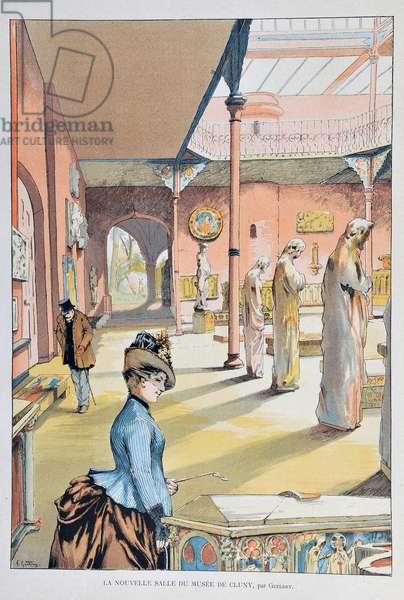 """La nouvelle salle du musee du middle ages de Cluny in Paris 1887, par Ferdinand Joseph GUELDRY (1858-1945) Engraving de 1887 in """"Paris-Illustrous journal weekly"""""""