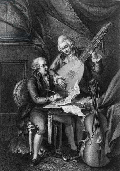 Wolfgang Amadeus Mozart (1756-1791) and Franz Joseph Haydn (1732-1809) - Engraving 19th century by Francis Rigaud
