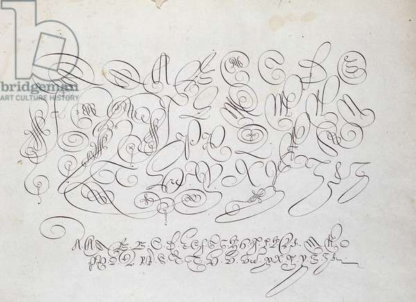 French calligraphy: Plate of capital, engraving of Frisius, calcographer of the king by Robert Vignon in the garden of writing around 1600.