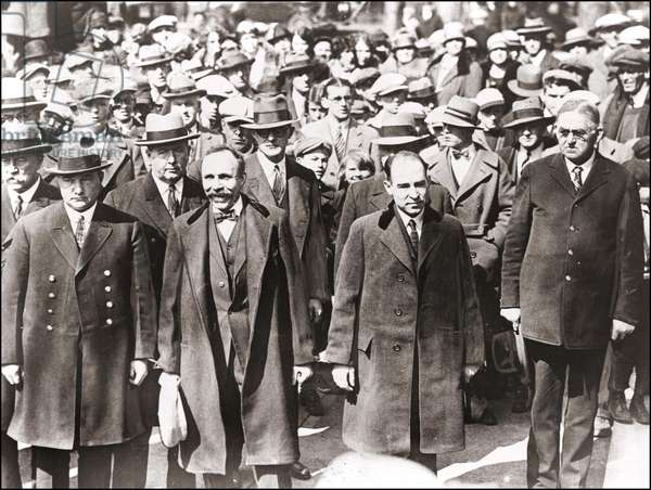 Sacco and Vanzetti at the entrance of the Palace of Justice in Dedham, Massachusetts where they were tried, 1927.