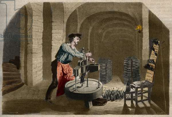 """Manufacture of sparkling Champagne wine: bottling machine used in a cellar. Engraving from 1858 in """""""" Le Musee Des Sciences"""""""""""