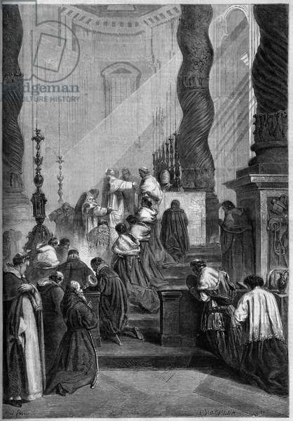"Catholic Rite - Easter - 1860: Pope Pius IX (or Pio 9, 1792-1878) celebrating Mass at St. Peter's Church in Rome (Italy). From a painting by Mr. de Coubertin. Engraving in """" Le Monde Illustrous"""" n°157 of 14 April 1860."