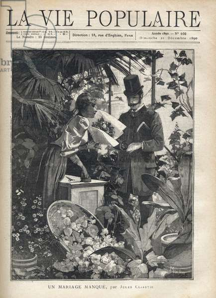 """An elegant man buys flowers in a florist's shop. Illustration by Alfons Maria Mucha (Alphonse Marie Mucha, 1860-1939) for """"A marriage missing"""" by Jules Claretie (1840-1913). Engraving in """"La vie populaire"""""""", 1890. Private Collection"""
