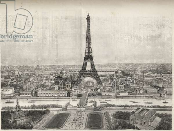 General View of the World Fair in Paris in 1889 with Eiffel tower from Trocadero, engraving - General view of the World Fair in Paris in 1889 with the Eiffel Tower, engraving in Le Monde illustrious de 1889