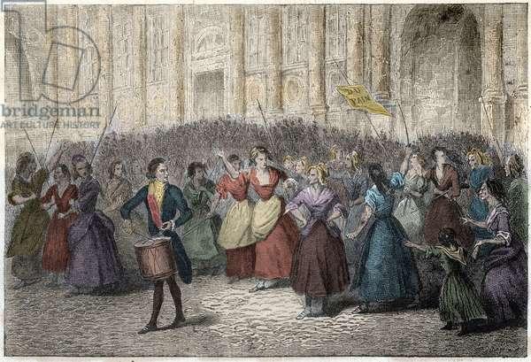 Women from the Halles market going for King Louis XVI of France in Versailles on October 5, 1789 - French Revolution - Evenement du 5 octobre 1789 - Les dames de la Halle et des femmes de Paris à Versailles