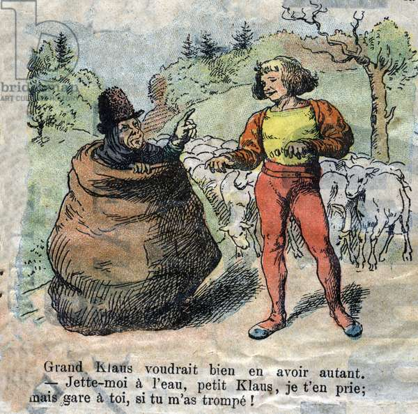 """Illustration of the late 19th century for the tale by Hans Christian Andersen (1805-1875) """"Grand Claus and Little Claus"""" (Klaus).Private collection."""