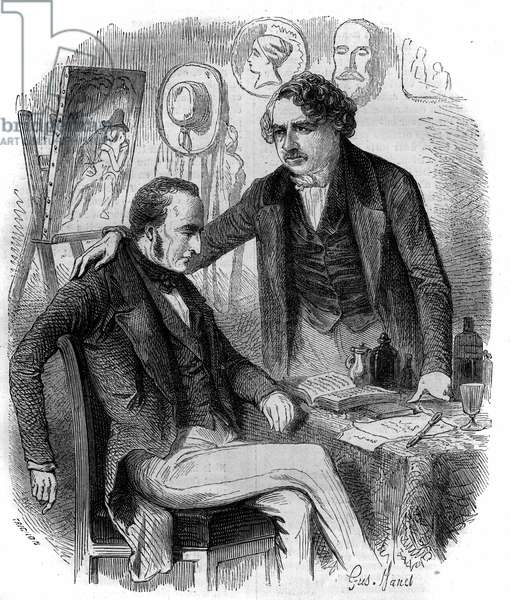 Nicephore Niepce (1765-1833) and Louis Daguerre (1787-1851), French inventors, pioneers of photography. Engraving from 1852.