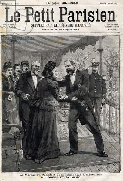 """The trip of the President of the Republic to Montelimar (Drome, France): Emile Loubet (1838-1929) and his mother. Engraving. In """""""" Le Peute Parisien"""""""", on 16/04/1899. Private collection."""