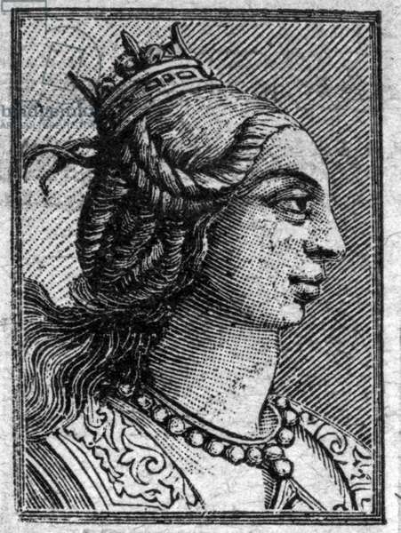 Portrait of Emma daughter of Lotharia II, King of Italy, she married Lothaire in 966. they had a child Louis V last Carolingian king.