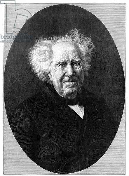 """Portrait of Michel Eugene (Michel-Eugene) Chevreul (1786-1889), French chemist. Engraving in """""""" La Nature: revue des sciences et de leurs applications aux arts et a l'industrie"""""""" of August 28, 1886."""