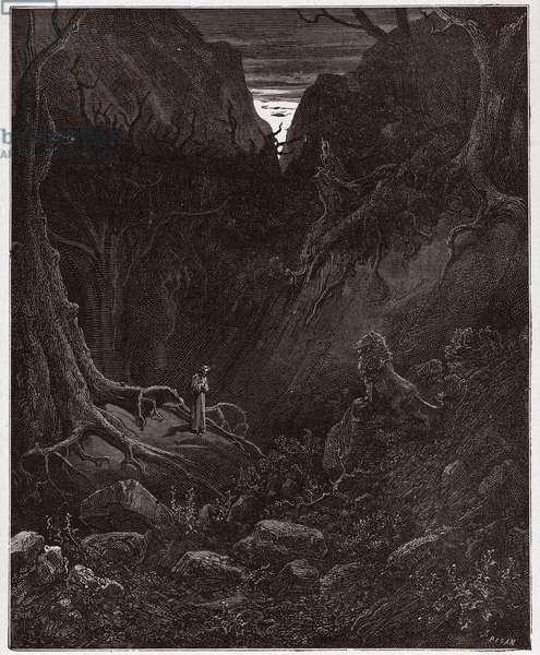 The Divine Comedy (La Divina Commedia, La Divine Comedie), Inferno, Canto 1: The lion suddently confronts Dante - by Dante Alighieri (1265-1321) - Illustration by Gustave Dore (1832-1883), 1885