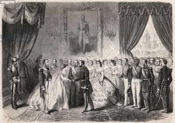 """Marriage of marechal Francois Achille Bazaine (Francois-Achille, 1811-1888) with the young Maria-Josefa (Maria Josefa) Pedraza de la Pena y Azcarate in Mexico City on 26 June 1865 in the palace of Emperor Maximilian I (1832-1867) in the presence of the sovereign and Queen Charlotte of Belgium (1840-1927) - Engraving In """"The Illustrous World"""""""", 1865 - The wedding of Francois Achille Bazaine (1811-1888) with Pepita de la Pena y Azcarate in Mexico, 26th June 1865 - Among those attending, the emperor Maximilian I of Mexico (1832-1867) and the queen Charlotte of Belgium (1840-1827) - Engraving from """""""" Le Monde Illustre"""", 1865"""