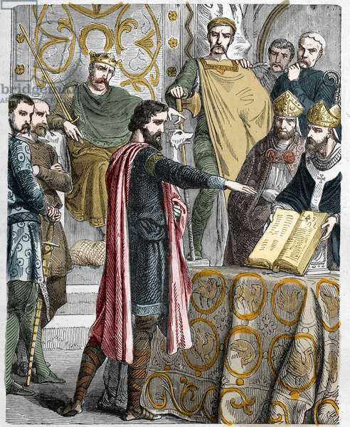 Harold II (1020-1066) last Anglo-Saxon King crowns in 1064, sworn on the sacred relics before William I the Conquerant to support his cause in the throne of England at the death of Edward the confessor.