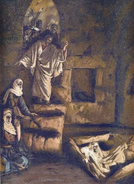 """The Resurrection of Lazarus - The Resurrection of Lazarus - from """""""" The Life of Our Lord Jesus Christ"""""""" - 1899 by James Tissot - The Life of Our Lord Jesus Christ, by Jacques Joseph (Jacques Joseph) Tissot dit James Tissot (1836-1902)"""