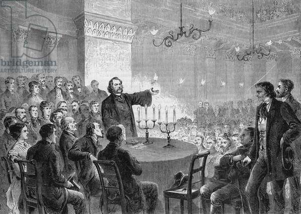 Conference of reformer Johannes (Jean) Ronge (1813-1887) in Vienna in 1868. He founded the Universal Christian Church. engraving of 1868. Private collection.