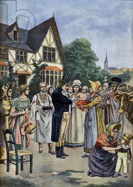 """The doctor Edward Jenner (1749-1823) inoculation of a child in 1796. In """"Le Petit Journal"""", January 1901 (engraving)"""