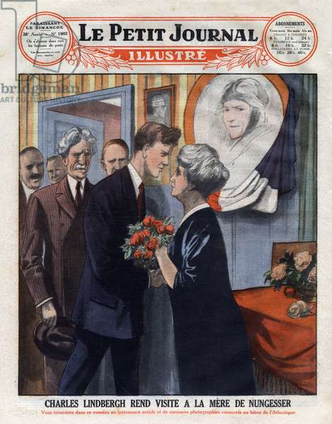 """Charles Lindbergh (1902-1974) visited the mother of airman Charles Nungesser (1892-1927), who disappeared during a crossing of the Atlantic. Engraving. One of """"The Little Journal Illustrates"""", 1927. Private collection."""