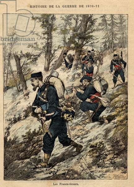 "The Franco Prussian War - Engraving by Maurice Pallandre in ""The fighters of 1870-71"""" by Commander Leonce Rousset (1850-1938) - Franco Prussian War - (Deutsch-Franzosischer Krieg)"