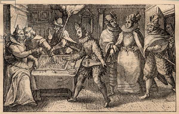 A backgammon party with strolling players - Dutch copper-plate engraving; from a set of prints, Hortus Voluptatem, by Crispin de Passe (1550-1643) - A couple playing backgammon surprised by five men masks engraving by Crispin de Passe l'Ancien