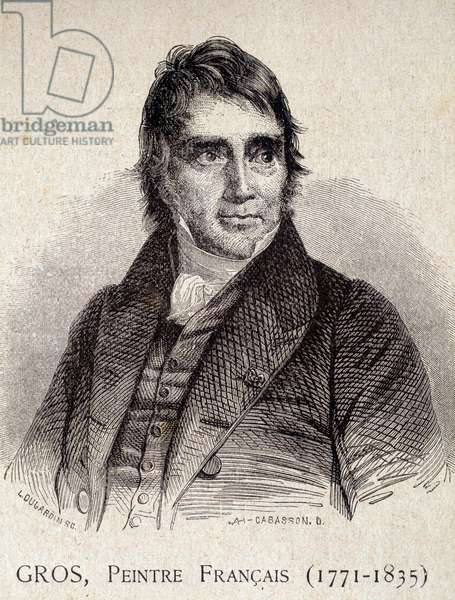 """Portrait of Antoine Jean Gros, French painter (1771-1835) - in """"Les Contemporains"""", n.d. end 19th century (engraving)"""