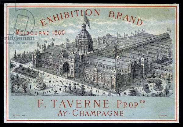 Exhibition of brands in Melbourne 1880: F. Taverne Champagne.