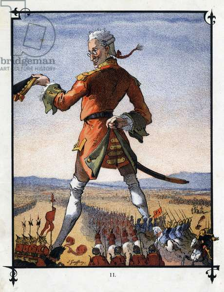 """Lemuel Gulliver commands the army of the Lilliputians. Illustration for """""""" Gulliver's Voyages """""""" by Jonathan Swift (1667-1745)"""