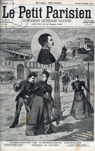 "Assassination of the Impress Elizabeth of Austria (Sissi) by the Italian anarchist Luccheni in Geneva in 1898. Cover of """" Le petit Parisien"""" of 1898 - The Assassination of Empress Elisabeth of Austria (Sissi) by Italian anarchist Luigi Lucheni, in Geneva, 1898, Engraving, Frontpage of French newspaper Le petit Parisien, 1898"