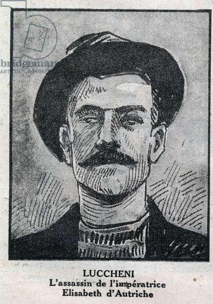 "Portrait of Luigi Lucheni (1873-1910), Italian anarchist, assassin in 1898 of Elisabeth de Wittelsbach, an Imperress of Austria known as Sissi. Engraving in """" L'illustrious du petit journal"""", 1932. Private Collection"