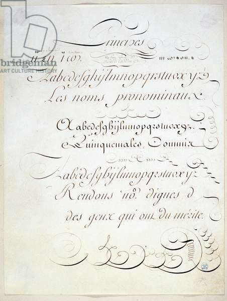 Calligraphy: Manuscript piece representing the principle of three French writings, towards the end of the 18th century by Andre Tardieu.