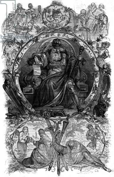 "Portrait of Charlemagne (Charles I known as Charles the Great, 742-814). Engraving in ""Histoire des Papes-Rois-Queen and Empereurs a travers les centuries"""" by Maurice Lachatre, 1863."