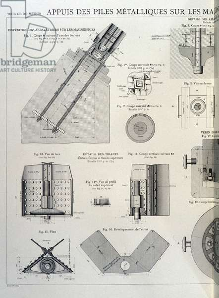 Metal piles of the Eiffel Tower - industrial design, 19th century
