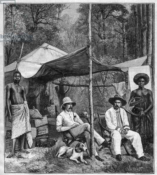 """Camp of the mission led by Captain Binger in Afforenou (Ivory Coast), 1892. - Camp de la mission du captain Louis Gustave Binger (1856-1936) a Afforenou (Ivory Coast), 1892. engraving in """""""" Journal des voyages"""""""""""" 1893"""