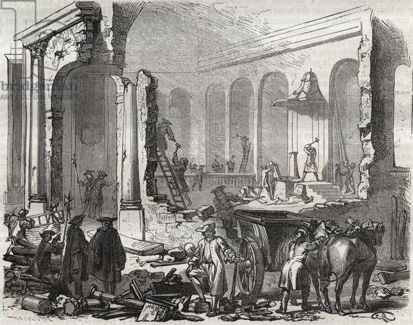 """Demolition of the temple of Charenton in November 1685 after the Revocation of the Edit of Nantes, October 18, 1685 - Demolition of the Charenton temple in November 1685"""" (Revocation of the Edict of Nantes, on October 18, 1685) - engraving 1866"""