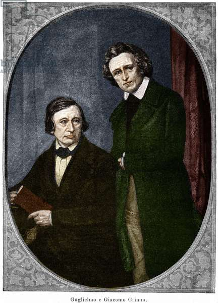 The brothers Jakob (1785-1863) and Wilhelm (1786-1859) Grimm, German writers.