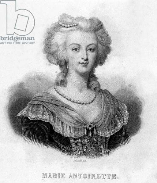 """Portrait of Marie Antoinette (1755 - 1793) - in """""""" Revolution francaise"""""""" by Thiers. 19th century"""