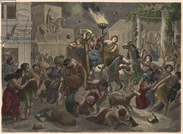 Ancient Rome: Eruption of Vesuvius, 79 AD, 1866 (coloured engraving)