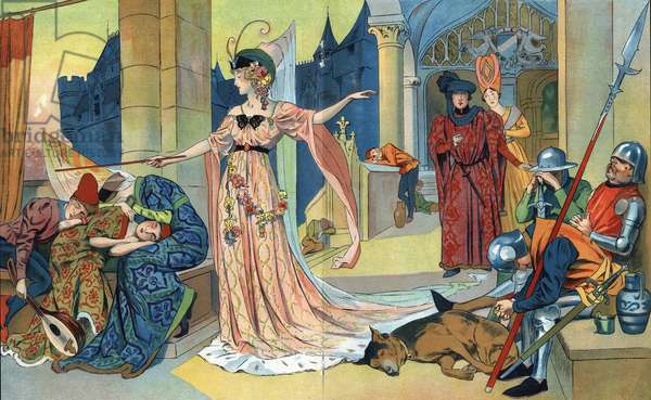 """The Fee spells the inhabitants of the castle with its magic wand to keep them asleep as long as the princess. """""""" La belle au bois dormant"""""""", tale by Charles Perrault (1628-1703) (sleeping beauty) Illustrations Henri Thiriet (1873-1946). About 1930"""