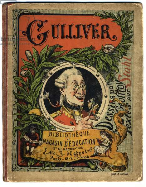 """Portrait of Lemuel Gulliver. Cover for """""""" Gulliver's Voyages """""""" by Jonathan Swift (1667-1745)"""
