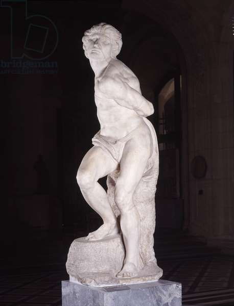 Captive, known as The Rebel Slave, (3/4) destined for the Tomb of Pope Julius II, made in 1513 by Michelangelo Buonarroti dit Michel Ange (Michelangelo or Michelangelo, 1475-1564).