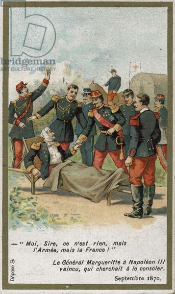 "General Jean Auguste Margueritte fatally wounded during the Battle of Sedan on September 2, 1870, answered Napoleon III who tried to console him: ""I, Sire, is nothing, but the Armee, but France! """". Chromolithography of the 19th century."