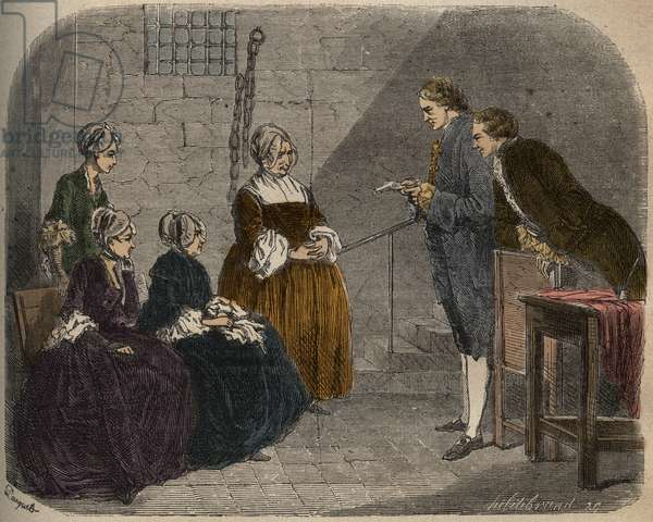 Madam Calas, with her two daughters, listens to the verdict of the trial of her husband, Jean, illustration from 'Causes celebres de tous les peuples', by Armand Fouquier, 1858-67 (coloured engraving)