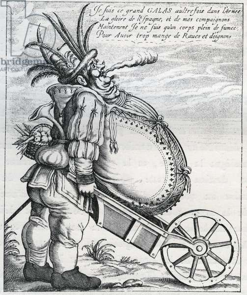 Satire against Matthias Gallas (1584-1647) general of the Imperial Army during the Thirty Years' War, after his retirement in 1636. Engraving of the 17th century. Private collection.