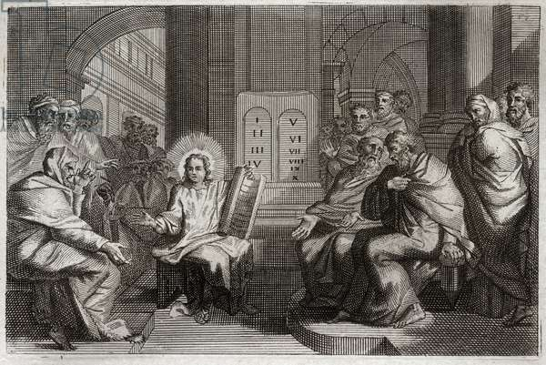 Royaumont Bible, New Testament: Jesus in the Temple among the Doctors.