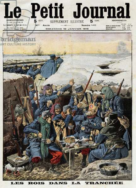 """First World War 1914-1918 (14-18): """"The kings in the trench"""": the French military happily celebrated the epiphany around a cake in a trench after shooting the kings. Engraving in """""""" Le Petite Journal"""""""", on 10/01/1915. Private collection."""