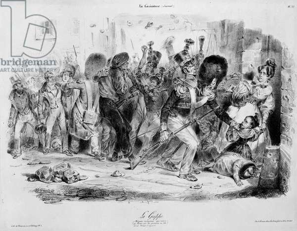 """La Flu (influenza): contagious disease that exerts its fury on Parisians in 1831 - engraving by Grandville in """"La caricature"""""""""""